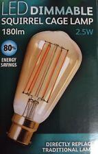 LED jaula de ardilla Regulable Cálido Blanco Bombilla de vidrio de color ámbar B22 Lámpara 180 LM 2.5 W A + +