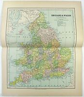 Original 1882 Map of England & Wales by Phillips & Hunt