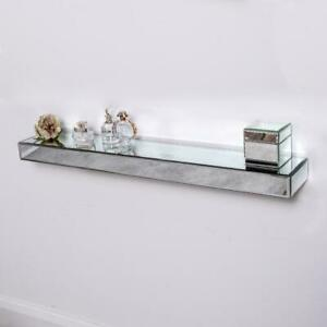 Mirrored Floating Shelf Silver Glass Storage Wall Mounted Display Home Unit Chic