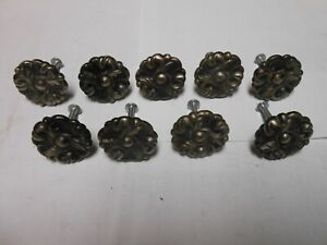 "Floral Design Antique Brass 2/"" Drawer Pull Handle//Knob /& Backplate Salvage"