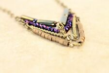 Long Chevron Necklace on Antique Gold Chain with Purple Czech Glass Crystals