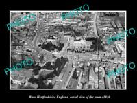 OLD LARGE HISTORIC PHOTO OF WARE HERTFORDSHIRE ENGLAND, TOWN AERIAL VIEW c1930 2
