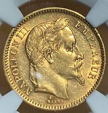 France 1864 A Gold ANGEL 20 Francs AU 55 NGC 009