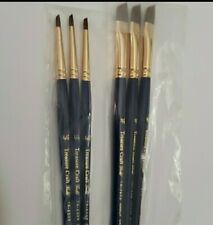 """6 Vintage Nos Usa Made Artist Paint Brushes (3) 3/8"""" & (3) 1/8"""""""