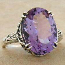 GENUINE 5 CARAT AMETHYST ANTIQUE STYLE 925 STERLING SILVER RING SIZE 9,     #929