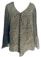 Faded Glory Women's 18 20 Blouse Multicolored Paisley 3/4 Split Bell Sleeves