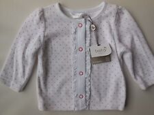 BABY INFANT GIRL SOFT VELOUR SPOTS CARDIGAN JACKET SIZE 00 FITS 3-6M *NEW *GIFT