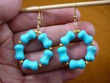 EE-800-23) CHINA TURQUOISE 13x7 mm beaded gemstone hoop dangle circle earrings