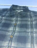 Mens Large Tommy Bahama Grey Gold Plaid Short Sleeve Button Down Shirt 100% Silk