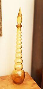 """RARE Retro EMPOLI Glass Genie Bottle Orange Bubble Ball Bobbin 21.5"""""""