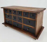 Vintage 13 Drawer Wooden Apothecary Spice Cabinet Primitive Farmhouse