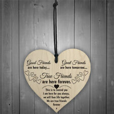 true friends are here forever wooden heart plaque wine tags hanging signs FG