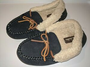 Clarks Sued Leather Moccasin Slippers Navy Lined Lace Up sz 6M