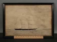 Antique American Folk Art Maritime Nantucket Clipper Ship Watercolor Painting