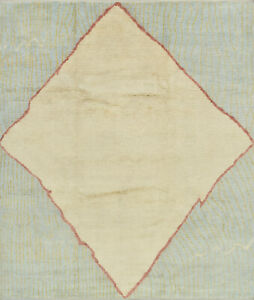 Moroccan Beni Ourain Rug, 8'x10', Ivory/Blue, Hand-Knotted Wool Pile