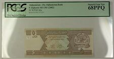 SH1381 (2002) Afghanistan 5 Afghanis Bank Note SCWPM# 66a PCGS GEM 68 PPQ