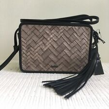 Botkier Emery Crossbody Bag Black Taupe Leather Tassel Purse NWT $298