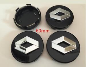 RENAULT 4x 60mm SCHWARZ BLACK Nabenkappen Felgendeckel Allufelgen Wheel Caps