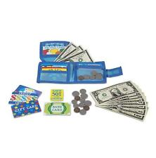 Kids Play Wallet Money Gift Card Pretend Toy 45 Pc Shop Learn Girl Boy Gift NEW