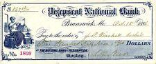 PEJEPSCOT NATIONAL BANK,BRUNSWICK ME, 1886, CHECK