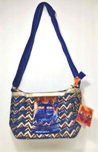 Azure Cat LAUREL BURCH Medium Canvas CROSSBODY PURSE Multicolor HAND BAG NWT