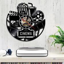 Vinyl Wall Clock 3D Black Creative Theater Cinema Popcorn Modern Home Decor