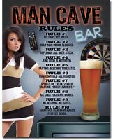 Man Cave Rules Novelty Tin Metal Sign Shop Garage Home Wall Decor New