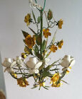 """Vintage Shabby Chic Italian 5 Arm Tole Chandelier Yellow Flowers H 22"""""""
