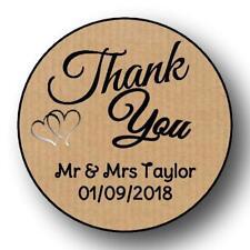 35 KRAFT WEDDING THANK YOU 37 MM PERSONALISED  ANNIVERSARY  STICKER LABELS
