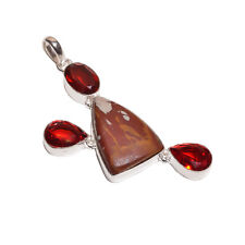 925 Sterling Silver Revêtement Jasper & Grenade Pierres Collier