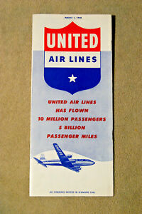United Airlines System Timetable - Aug 1, 1948