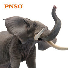 PNSO African Elephant Model Animal Figure Decor Collector Loxodonta Kid Gift Toy