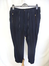 "Ladies Trousers Zara black viscose elasticated waist 38"" inside leg 26""  0414"