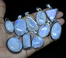 10 PCs Lot Natural Flashy Rainbow Moonstone .925 Silver Plated Pendants Jewelry