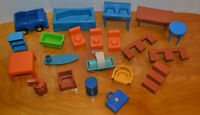 VINTAGE MPC & OTHERS DOLLHOUSE FURNITURE MIXED LOT TOYS PLASTIC 1970'S 1960'S
