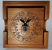 United States Air Force Bamboo Coaster Set With Holder