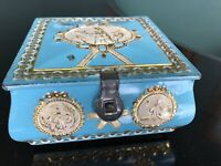 Vintage Tin blue, ivory and gold - with latch - decorated with figurines