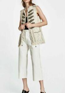 ZARA Women sz M Embellished Military Beads Waistcoat  Cream Pockets