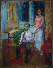 Russian Ukrainian Oil Painting Impressionism Children young musician flute