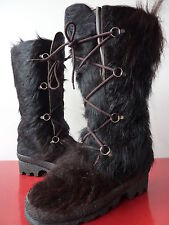 Moon Yeti boots neige bottes POils chEVRE vINTAGE 70 VTG hIPPIE T 38 TBE fourrée