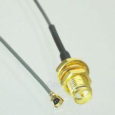 RP-SMA female plug center nut bulkhead to IPX U.fl 1.13 pigtail cable 20cm