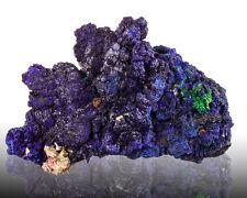 "3.3"" ShinyMidnightBlue AZURITE Sharp Crystals w/Green Malachite Morocco for sale"