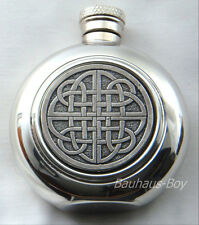 SOLID PEWTER 4OZ SPORRAN HIP FLASK ROUND CELTIC SCROLL DETAIL MADE IN THE UK NEW