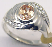 Champagne CZ Sterling Silver Ring, Rhodium plated, #28