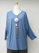 "PLUS SIZE COTTON V-NECK RELAXED T-SHIRT/TOP**DUSTY BLUE**BUST UP TO 52"" L-XL-XXL"