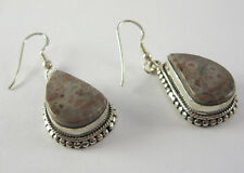 Jasper Dangle Earrings .925 Sterling Silver Red Grey Gray Agate Stone Jewelry