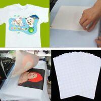 10pcs T Shirt A4 Transfer Paper Iron On Heat Press Light Fabrics Inkjet Prints
