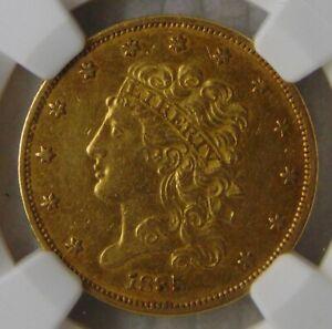 1835 Classic Head Gold Dollar $5 Half Eagle, NGC AU 55, Beautiful Coin!