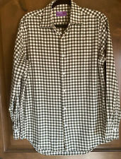 Lorenzo Uomo Green/ Ivory Checked Shirt Men's Size 16 32/33 Sleeve. Trim Fit.