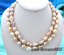 """Real 2row 20"""" 16mm baroque pink white purple reborn keshi pearl necklace"""